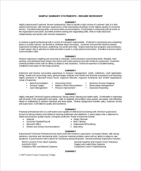 Executive Resume Summary Phrase \u2013 resume