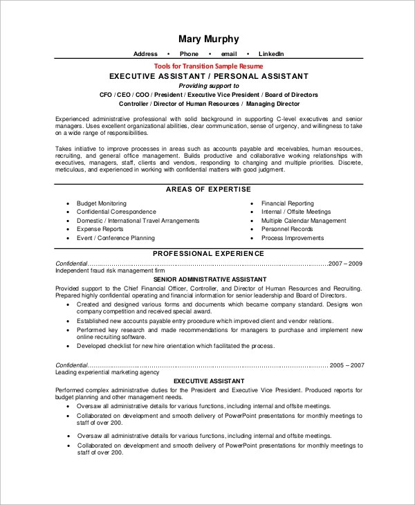 8+ Sample Executive Resumes Sample Templates - professional executive assistant sample resume