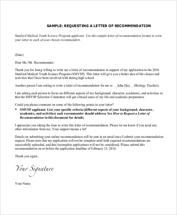 9+ Sample Recommendation Letters Sample Templates - sample recommendation request letter
