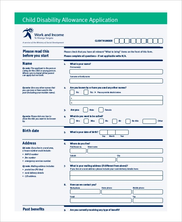 Sample Disability Form - 8+ Examples in PDF - attendance allowance form