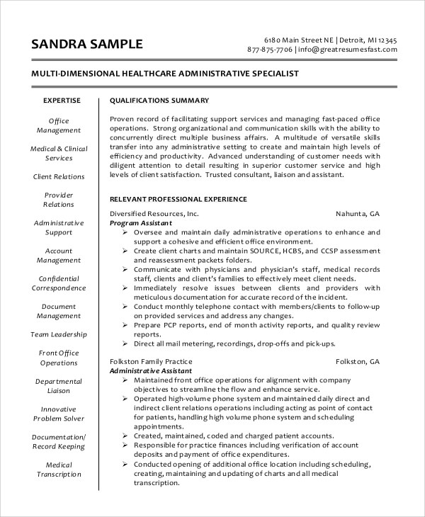 Sample Administrative Assistant Resume - 8+ Examples in Word, PDF - Resume Samples Administrative Assistant