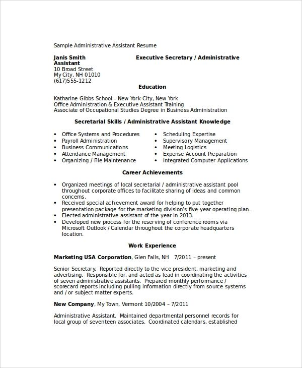 resume samples senior administrative assistant