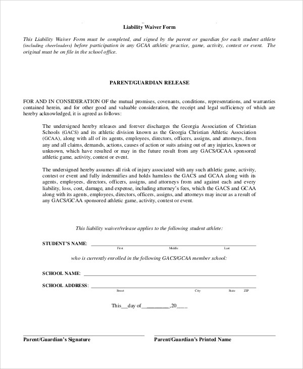 Waiver Of Liability Release Of Liability Waiver Sample Release Of - liability waiver form