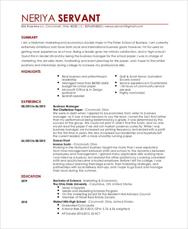 restaurant resume word examples