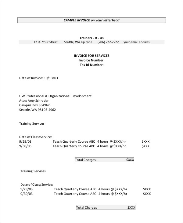 8+ Invoice Samples Sample Templates - invoice letterhead