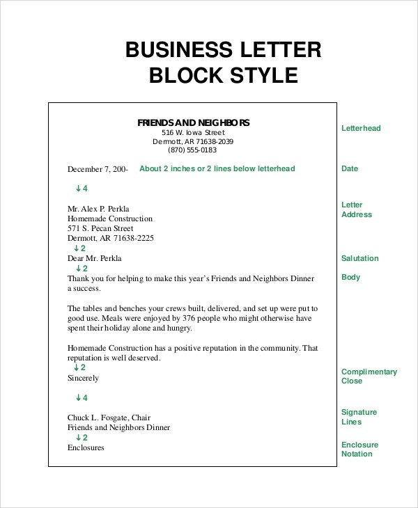 8+ Sample Business Letter Formats \u2013 PDF, Word Sample Templates - business letter format examples