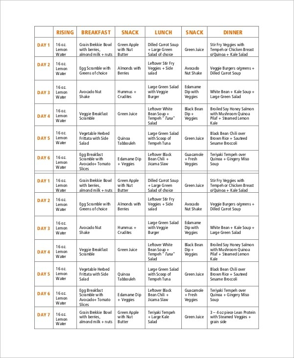 8+ Sample Weekly Meal Plans Sample Templates - meal plans