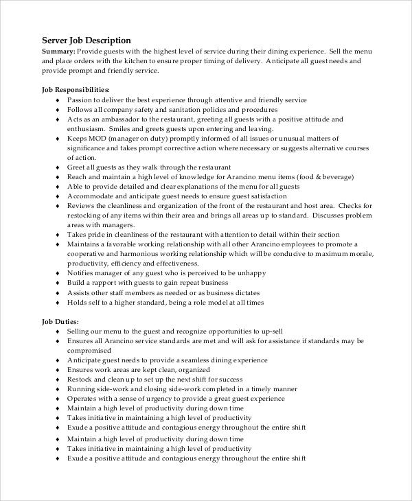 8+ Server Job Description Samples Sample Templates
