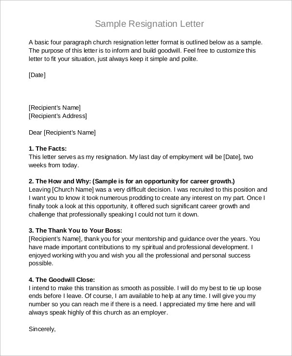 Example Resignation Letter - 8+ Samples in Word, PDF - sample resignation letters