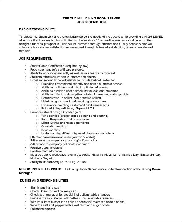 Sample Server Job Description - 10+ Examples in PDF