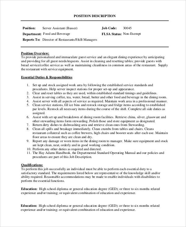 8+ Server Job Description Samples Sample Templates - server job description