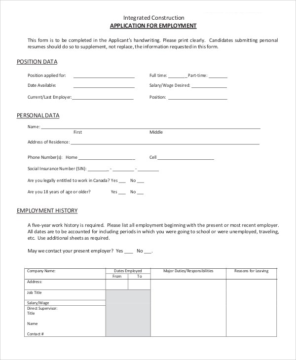 9+ Sample Employment Applications Sample Templates