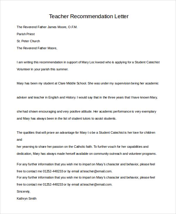 Sample Teacher Recommendation Letter - 7+ Examples in PDF, Word - teacher letter of recommendation