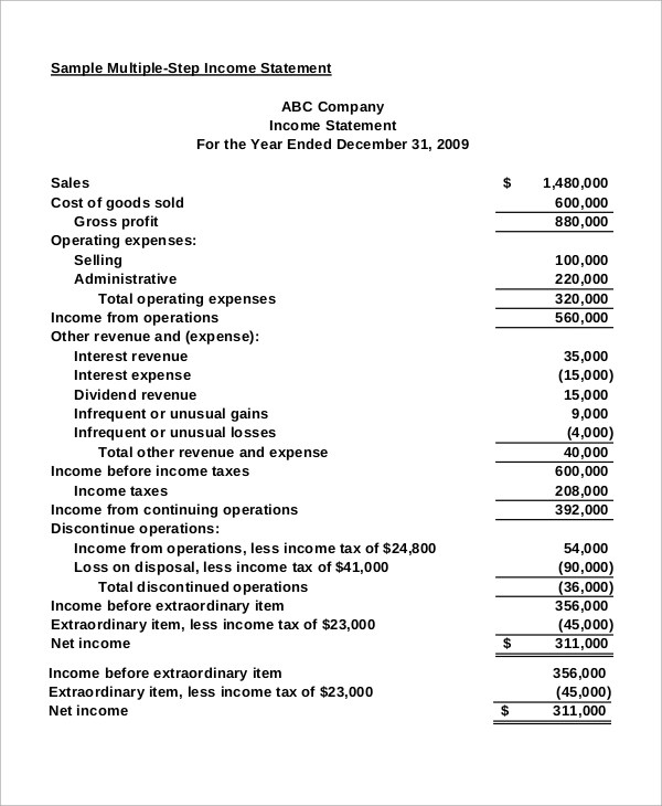9+ Income Statement Samples Sample Templates