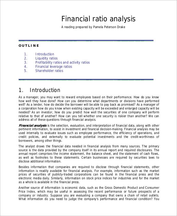 audience analysis sample paper - sample financial analysis