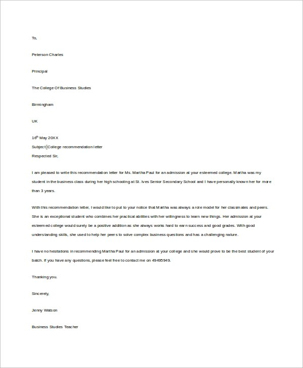 8+ Example Letters of Recommendation Sample Templates - college recommendation letter