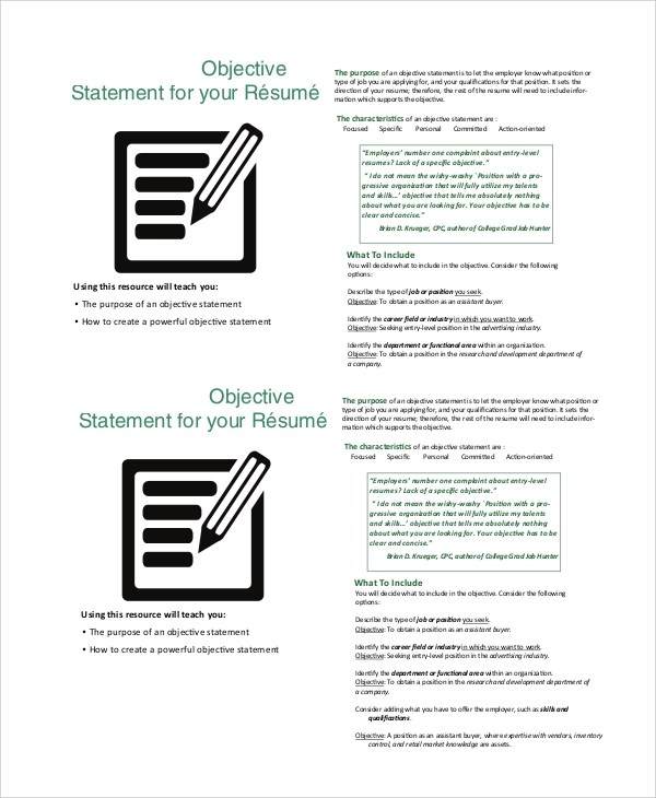 8+ Sample Good Resume Objectives Sample Templates - Good Resume Objectives