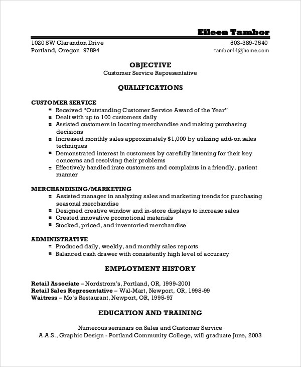 IPSIA \ - good objective for resume for customer service