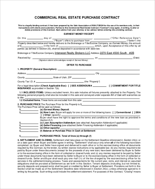 7+ Sample Commercial Purchase Agreements - Word, PDF