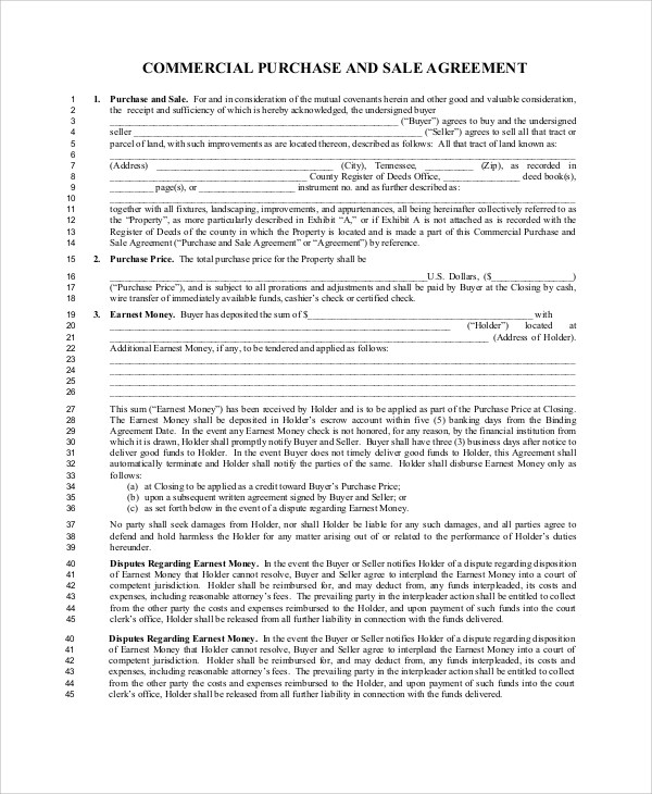 7+ Sample Commercial Purchase Agreements Sample Templates - commercial purchase agreement
