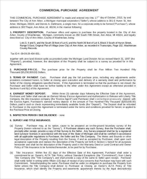 Sample Commercial Purchase Agreement - 7+ Examples in PDF - commercial purchase agreements