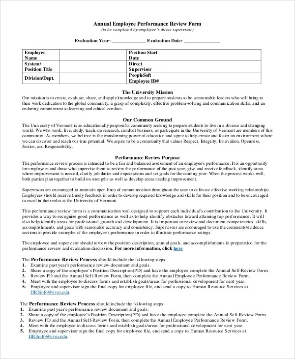 Sample Employee Review Form - 7+ Examples in PDF, Word - employee review