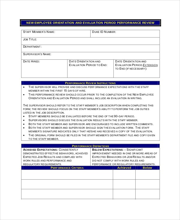 Sample Employee Review Form - 7+ Examples in PDF, Word - sample employee evaluation form