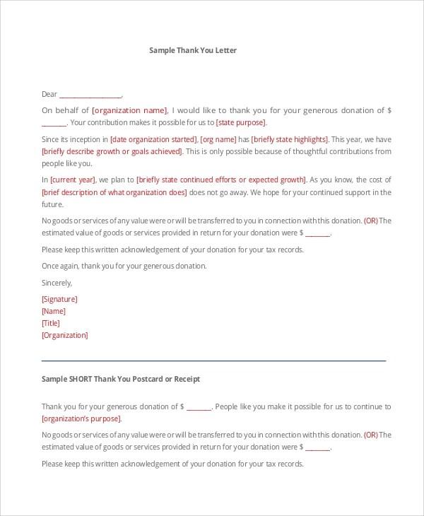 Sample Thank You Letter For Donation - 8+ Examples in Word, PDF - donation thank you letter