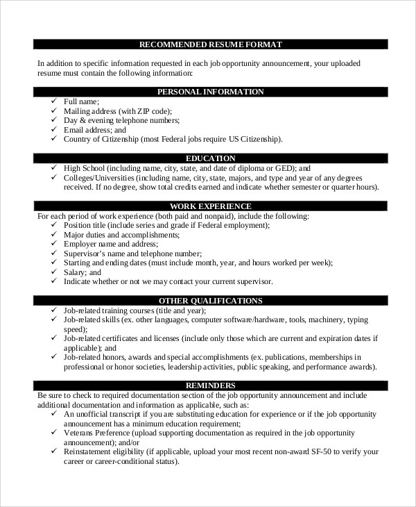 8+ Resume Format Examples Sample Templates