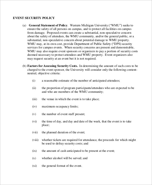 Security Policy Sample - 8+ Examples in Word, PDF