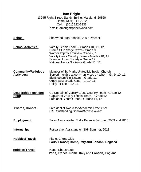 sample resume no experience high school