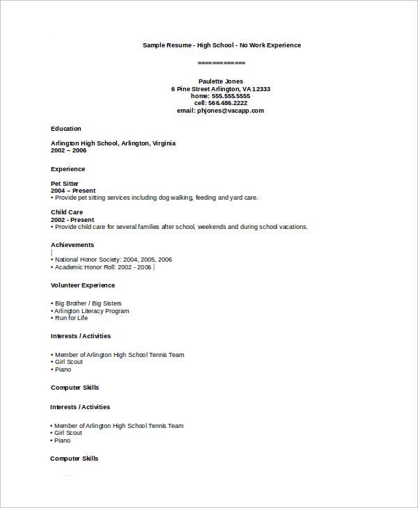 resume samples high school student