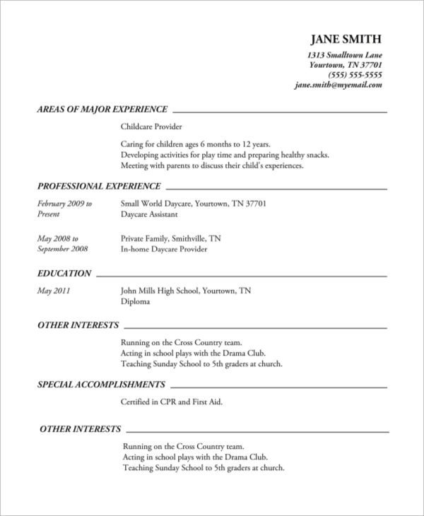 samples of a high school resume