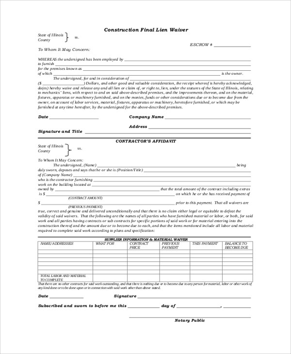 ... Sample Lien Release Form 8 Best Photos Of Photography Property   Lien Release  Forms Texas Construction ...