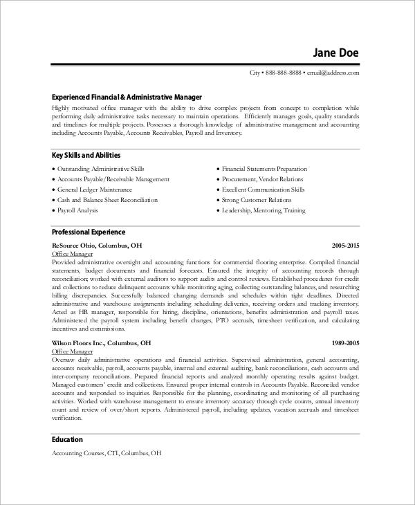 resume sample for general office work