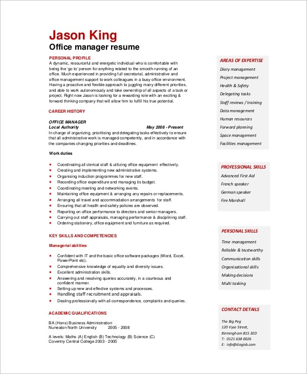 Sample Office Manager Resume - 8+ Examples in Word, PDF