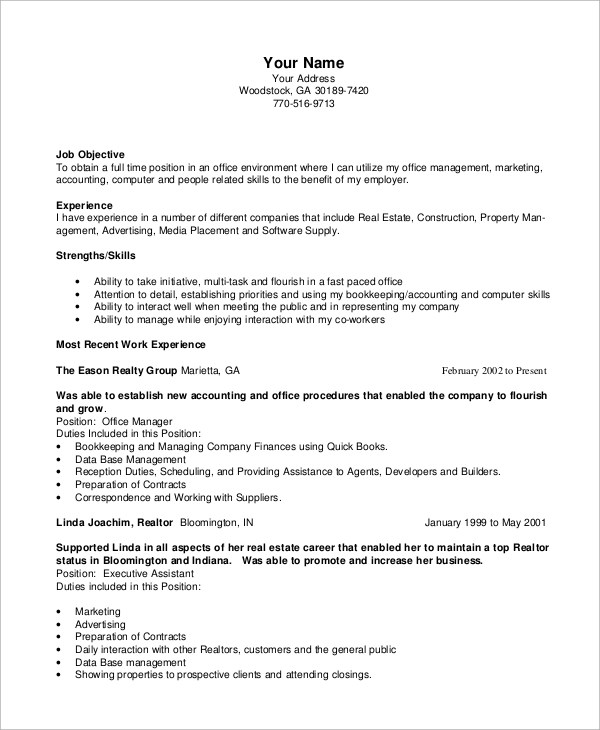 8+ Sample Office Manager Resumes Sample Templates - Office Manager Skills Resume