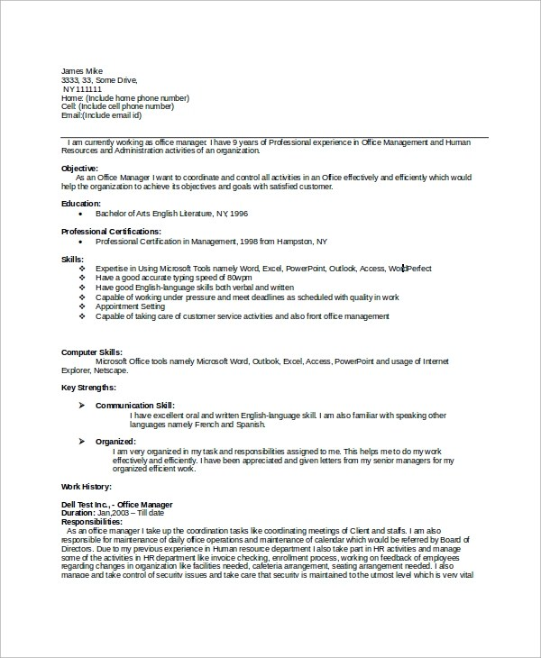 8+ Sample Office Manager Resumes Sample Templates - office manager resume skills