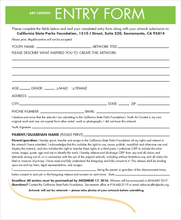 Contest Form Template contest form template hirescore – Club Membership Form Template Word