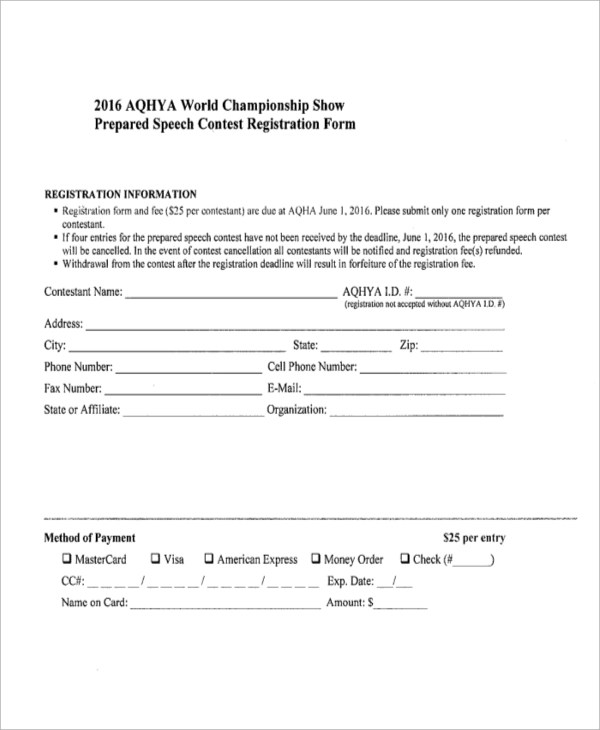 7+ Sample Contest Forms Sample Templates