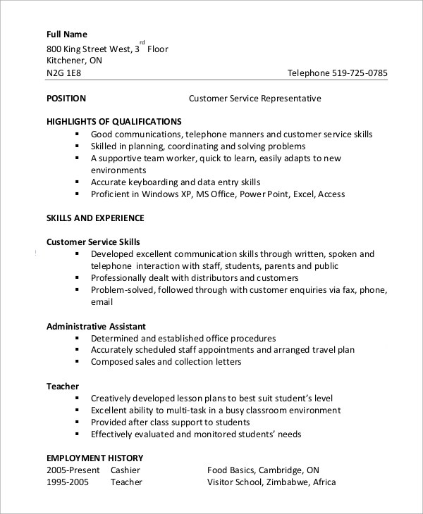 8+ Customer Service Resume Examples Sample Templates