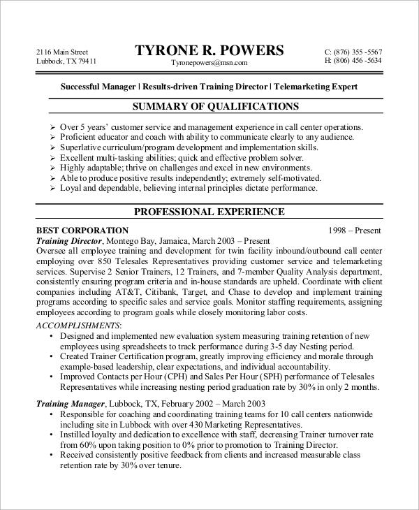 Customer Service Resume Example - 8+ Samples in Word, PDF