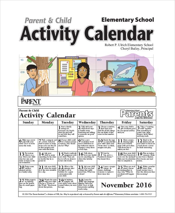 8+ Sample Activity Calendars Sample Templates - sample school calendar