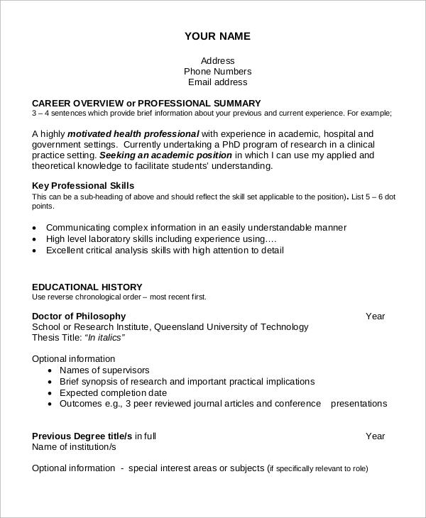 7+ Sample Academic Resumes Sample Templates