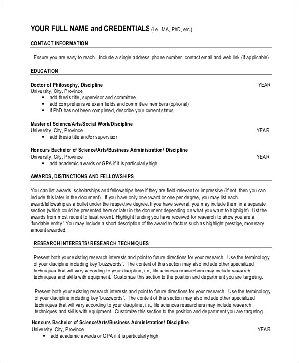 7+ Sample Academic Resumes Sample Templates