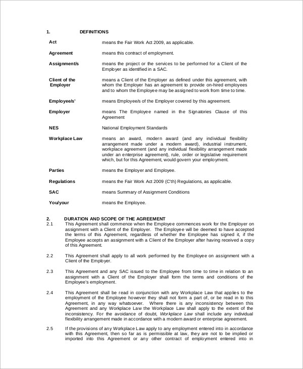 Casual Employment Agreement 43+ employment samples sample templates - Casual Employment Agreement