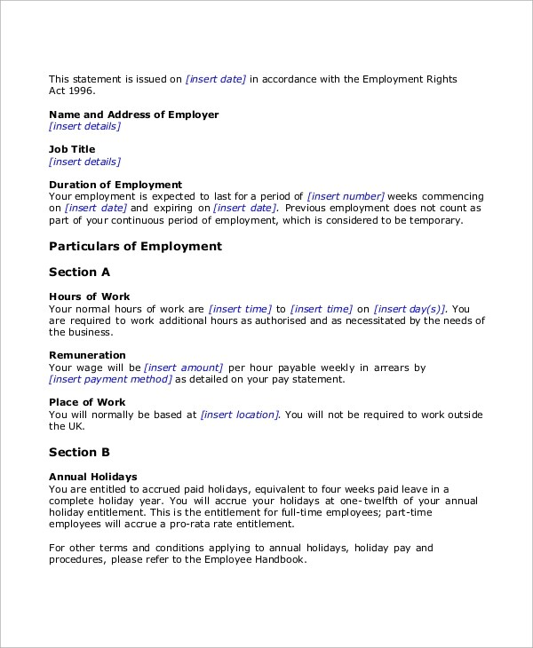 43+ Employment Samples Sample Templates - temporary employment contract