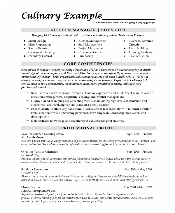 8+ Sample Chef Resumes Sample Templates - kitchen assistant sample resume