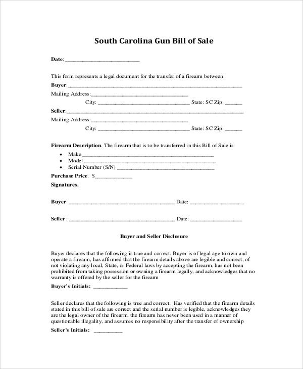 8+ Gun Bill of Sale Samples Sample Templates - legal bill of sale template