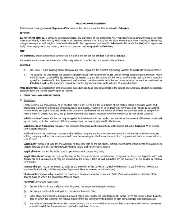 8+ Sample Loan Agreements \u2013 PDF, DOC Sample Templates - personal loan agreements